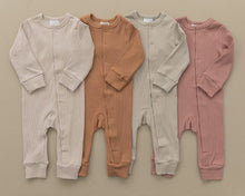 Load image into Gallery viewer, Dusty Rose Organic Cotton Ribbed Footless One-Piece