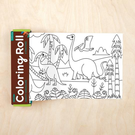 Mudpuppy - Mini Coloring Roll - MIGHTY DINOSAURS