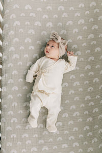 Mebie Baby - Oatmeal Organic Cotton Ribbed Head Wrap