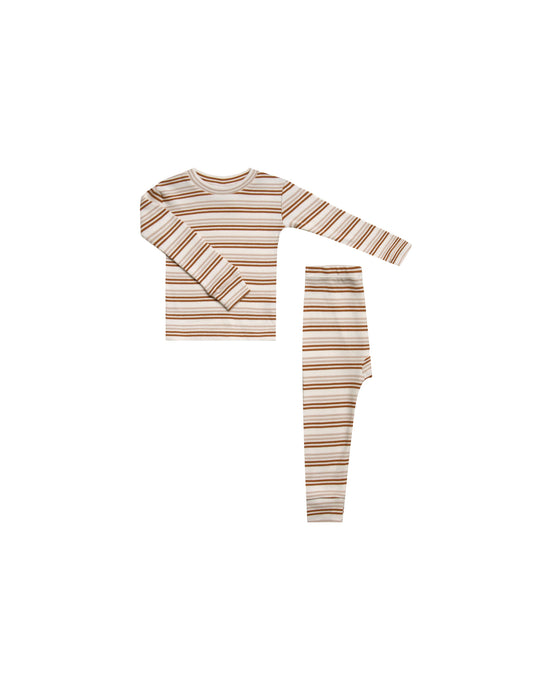 Rylee + Cru - Organic Striped Pajama Set - Oat & Cinnamon