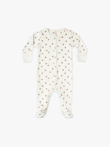 Organic Full Snap Footie - Ivory/Peach