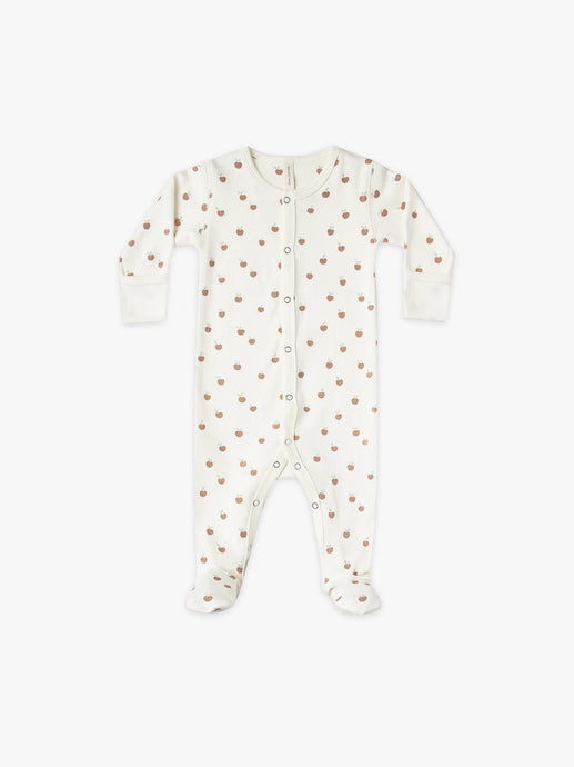 Quincy Mae - Organic Full Snap Footie - Ivory/Peach