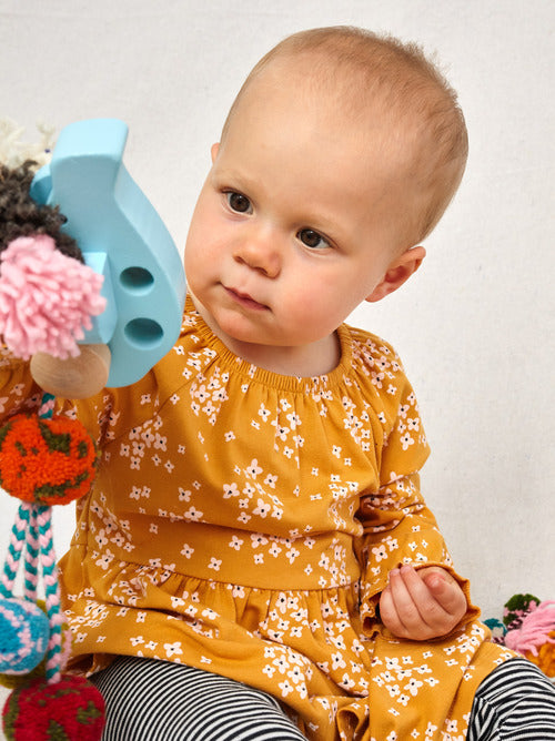 Tea Collection - Peasant Baby Dress - Golden Wildflowers