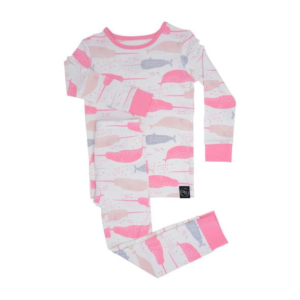 Sweet Bamboo - Big Kid Bamboo Pj Set - Narwhal Bliss Pink