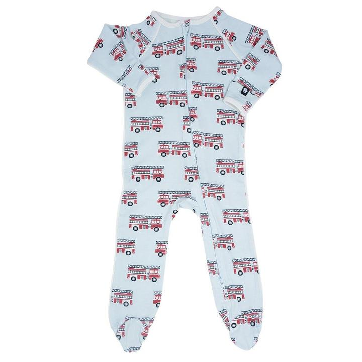 Sweet Bamboo - Bamboo Piped Zipper Footie - Firetruck