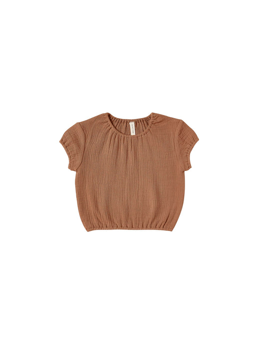 Quincy Mae - Organic Cotton Gauze Cinched Woven Tee - Rust