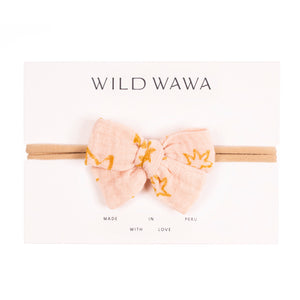 Wild Wawa - Bow Headband - Soft Pink