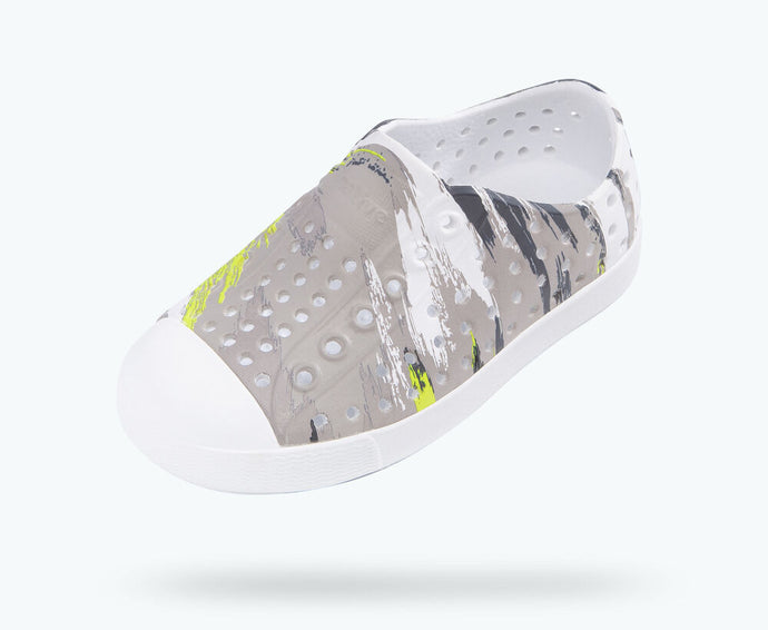 Native Shoes - Jefferson Print Child - Shell White/ Green Multi Splatter