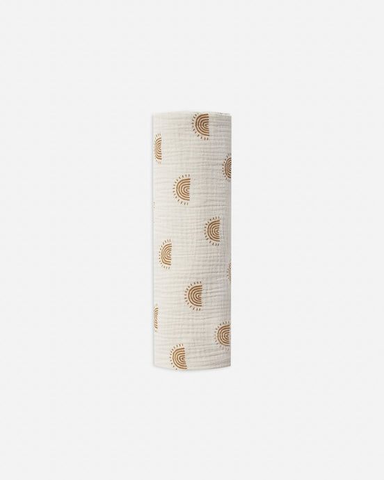 Rylee + Cru Rainbow Suns Swaddle - Natural