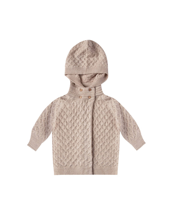 Rylee + Cru - Baby Sweater Coat Honeycomb Knit - Oat