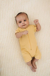 Fin & Vince - Ribbed One Piece Swimmer - Mustard