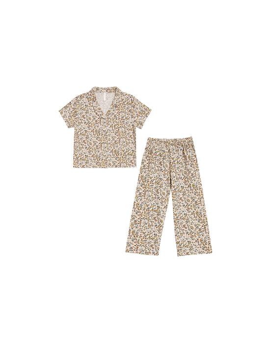 Rylee + Cru - Organic Light Floral Pajama Set - Natural