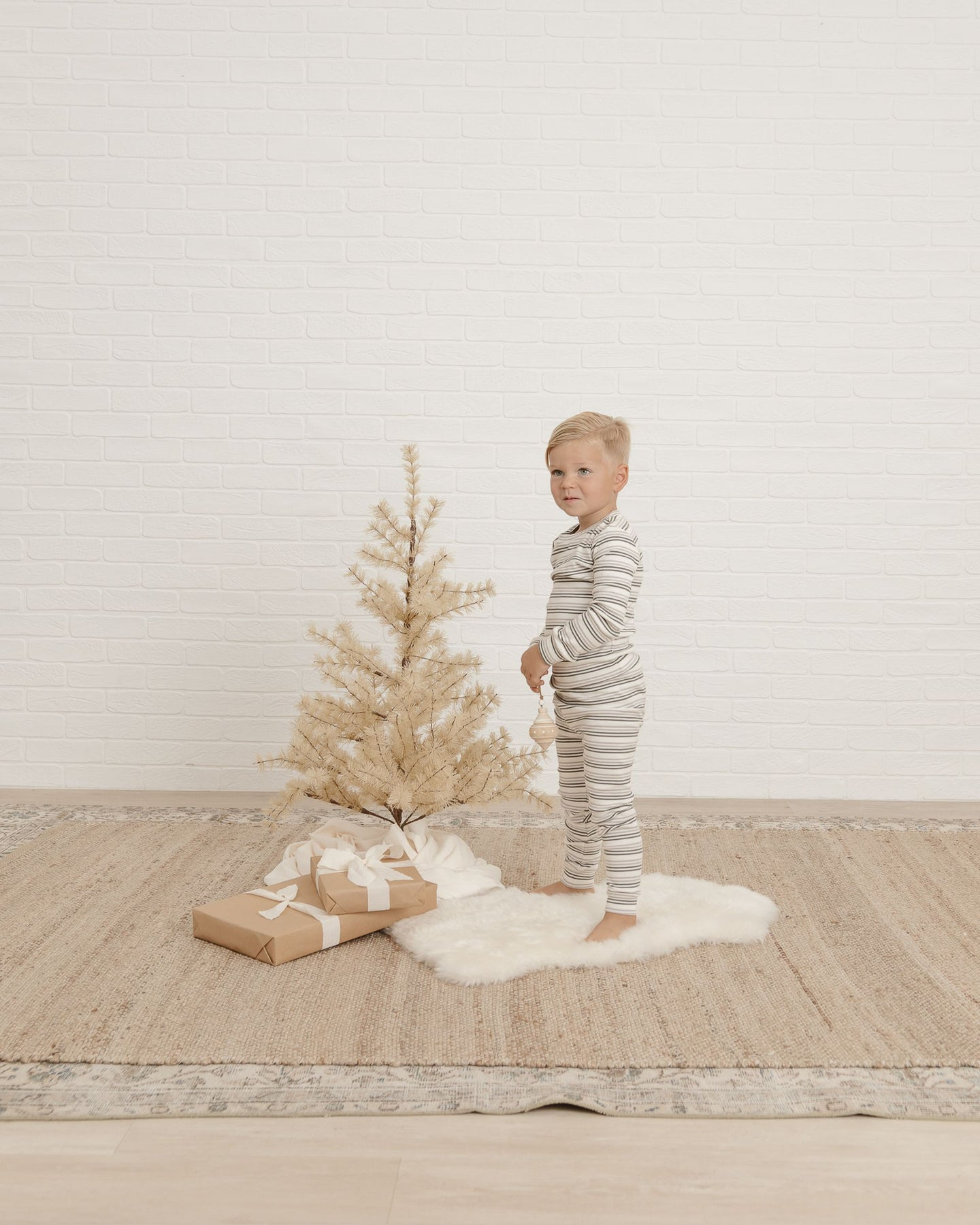 Rylee + Cru - Organic Striped Pajama Set - Forest/Warm Grey
