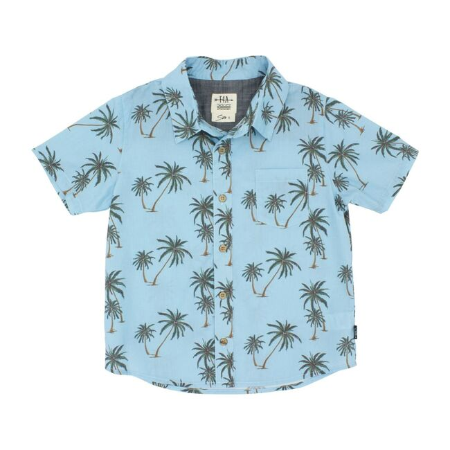 Wavy Palm Button Down Woven - Crystal Blue