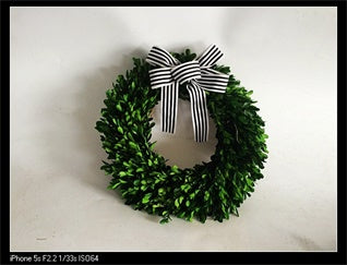Green Boxwood Wreath With Ribbon