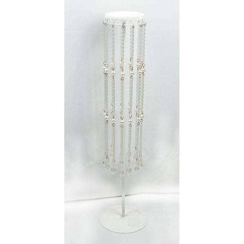 Shiny White Candle Holder5.51X5.51X22.64