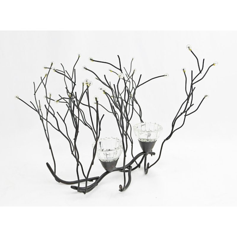 Contemporary Acrylic Beaded Twig Glass Candelabra - Galt International