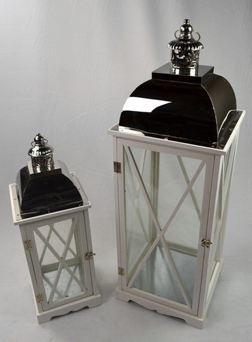 Set of 2 White Stainless Steel Lantern