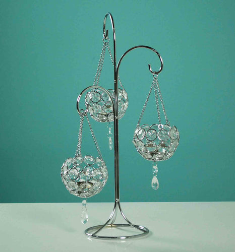 Clear Beaded Candle Holder W/3Cup