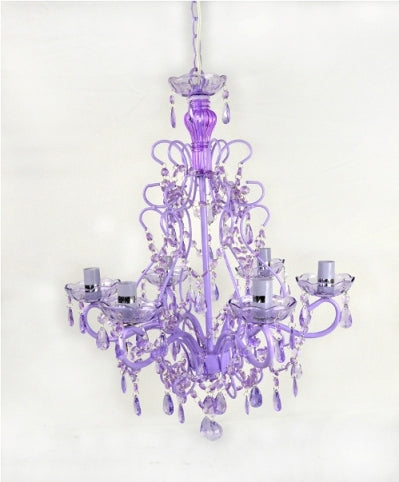 Purple Chandelier With Purple Acrylic Beads 6 Lighes
