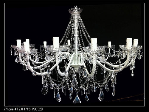 White 12 Lights Chandelier White Color