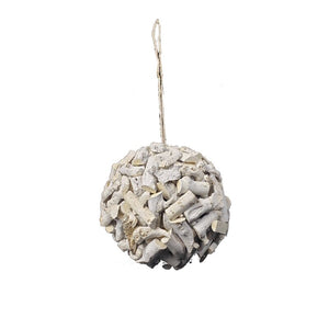 "BEACH STYLE WOOD CHIP DRIFTWOOD BALL WALL DECOR, 8"" - Galt International"