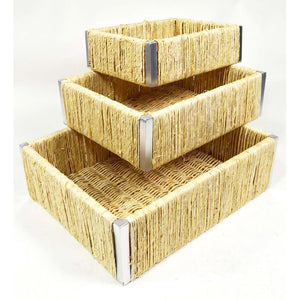Corn Husk 3 Piece Basket Set - Galt International