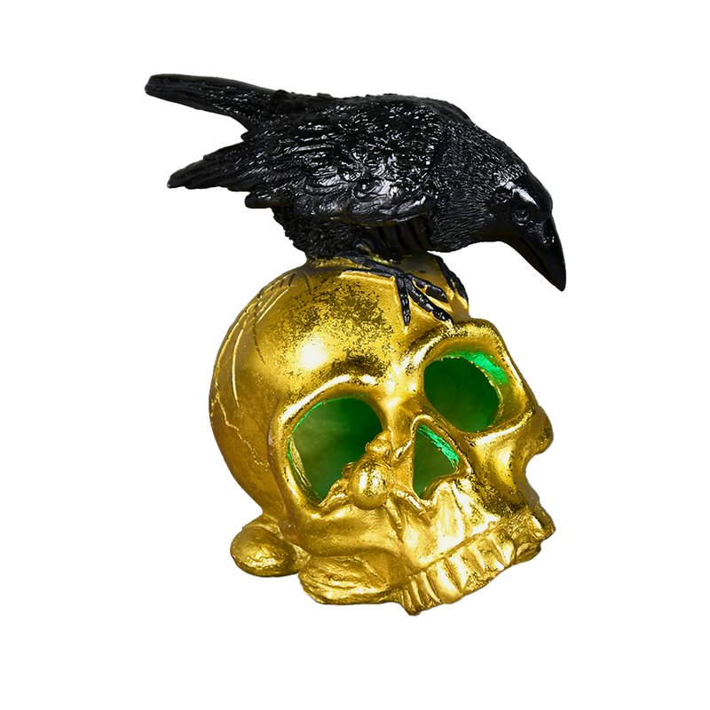 Polyresin Crow On Skull W/Led 2/8 Pcs - Galt International