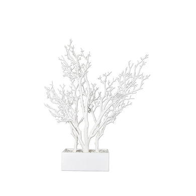 CONTEMPORARY ACRYLIC DORMANT TREE WITH WIDE POT, WHITE - Galt International