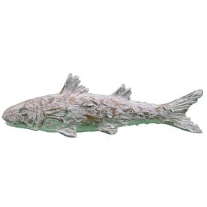BEACH STYLE RESIN DUVALL FAUX WOOD ASIAN CARVED FISH FIGURINE - Galt International