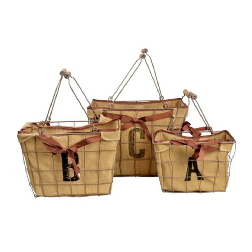 Natural Metal Basket W/Jute Liner-S/3