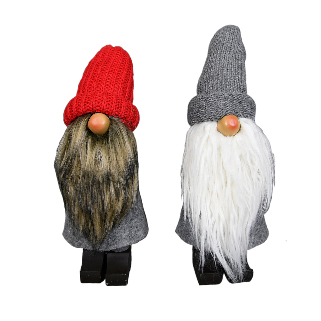 Gray Red Fabric 2 Piece Gnome Decor Set Figurine - Galt International