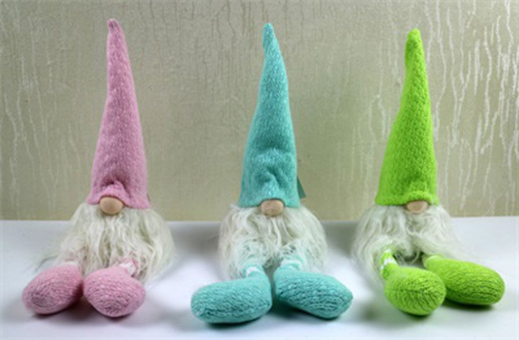 Bl/Gr/Pk Md Fabric Gnome Deco.