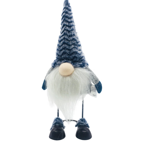Blue Fabric Gnome With Shaking Metal Body Grey