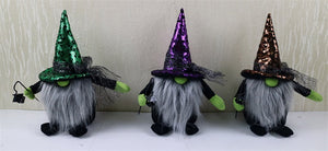 Set of 3 Fabric Witch Decor Holding Light
