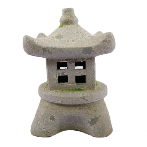 Grey Pottery Lighthouse Garden Decoration with Solar Lights