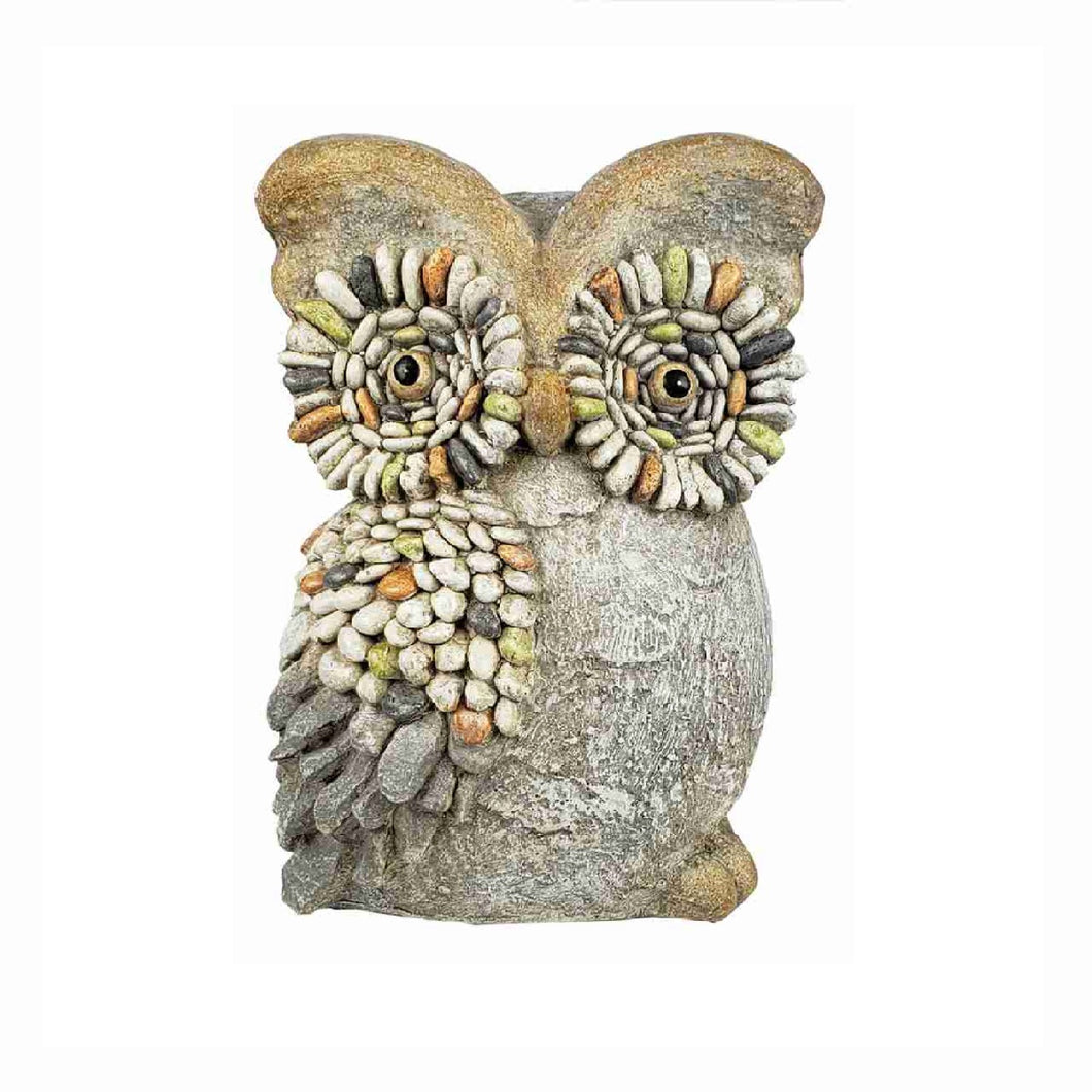 Tan Garden Owl With Pebble Design