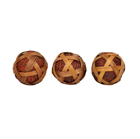 Set of 3 Rattan Ball In Brown Color