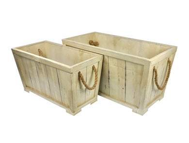 Set of 2 Wood Container