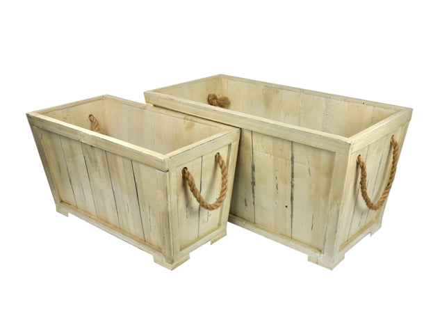 Set Of 2 Wooden Containers