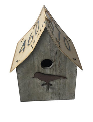 Wood And Metal Bird House Rect