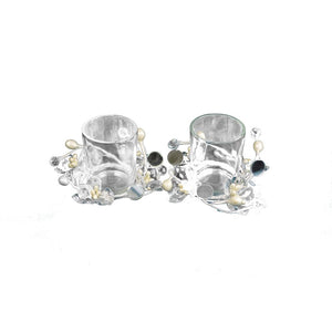 CONTEMPORARY ACRYLIC FLORAL GLASS TEALIGHT HOLDER - Galt International