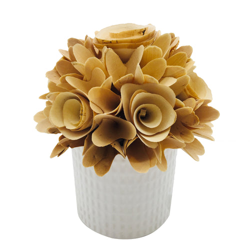 White Woodchip Flower Bundle in Pot - Galt International