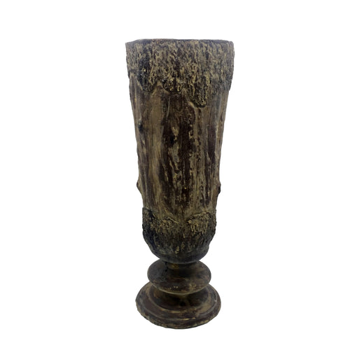 Cement Vase with Wooden Design