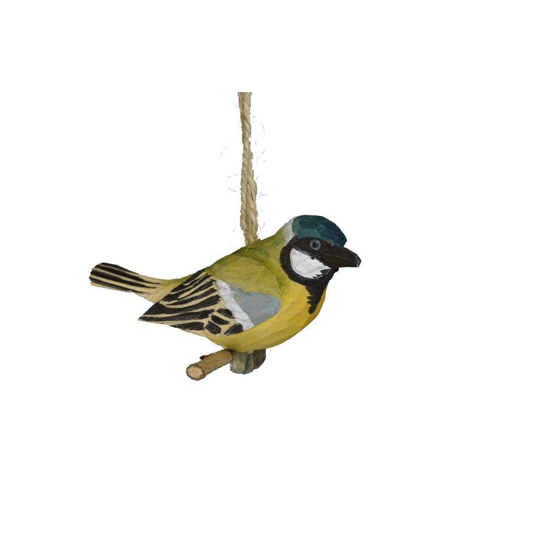 CONTEMPORARY ACRYLIC HANDCRAFTED WOODEN WARBLER HANGING FIGURINE - Galt International