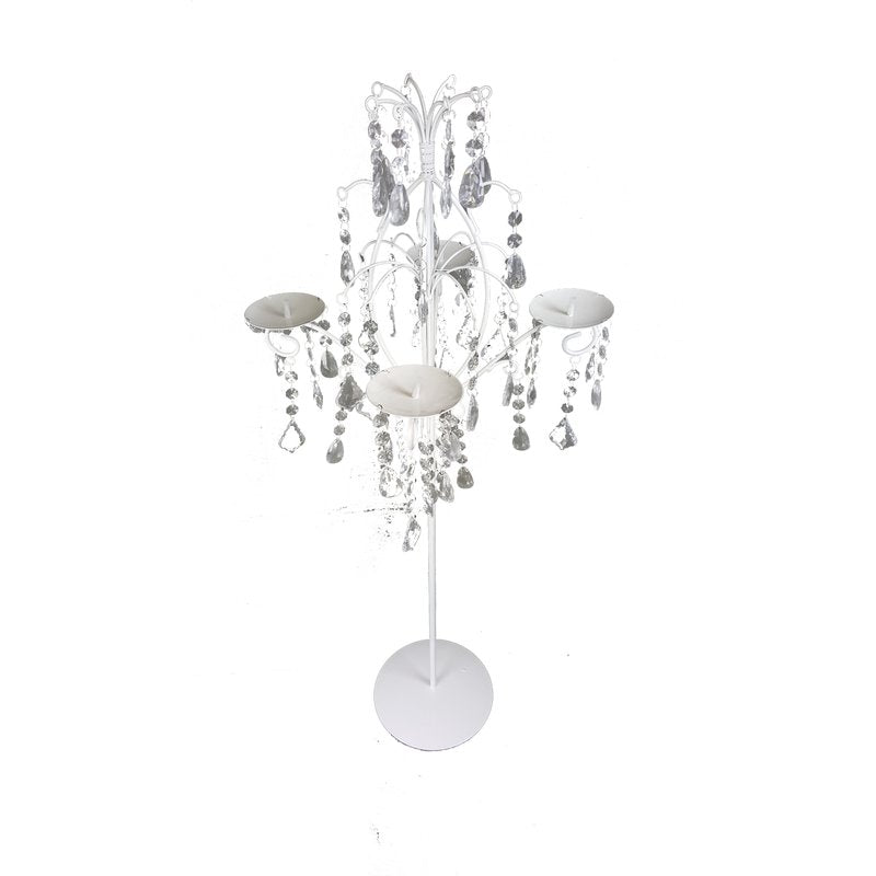 CONTEMPORARY ACRYLIC HANGING BEADS GLASS CANDELABRA - Galt International