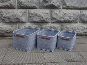 Sm Felt Storage Baskets Dark Grey