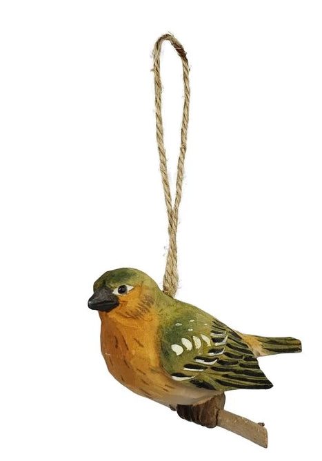 CONTEMPORARY ACRYLIC HANDCRAFTED WOOD NASHVILLE WARBLER HANGING FIGURINE ORNAMENT - Galt International