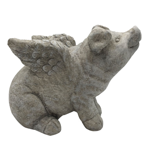 Cement Flying Pig Garden Decor
