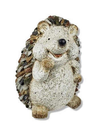 Grey Happy Hedgehog Garden Decoration